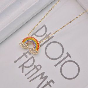 Tory Burch Cute Zircon Rainbow Necklace